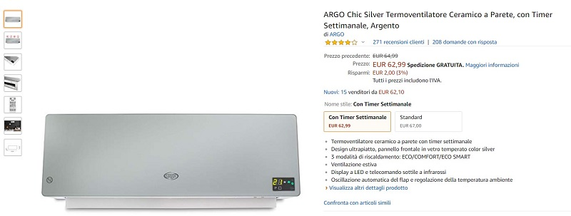 Argoclima Chic Calefactor Cerámico De Pared Review Opiniones
